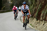 European Champion Matteo Trentin (ITA) Mitchelton-Scott out front during Stage 8 of the 77th edition of Paris-Nice 2019 running 110km from Nice to Nice, France. 16th March 2019<br /> Picture: ASO/Alex Broadway | Cyclefile<br /> All photos usage must carry mandatory copyright credit (&copy; Cyclefile | ASO/Alex Broadway)