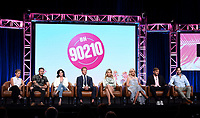 2019 FOX SUMMER TCA: (L-R): BH90210 cast members Gabrielle Carteris, Brian Austin Green, Shannen Doherty, Ian Ziering, Jennie Garth, and Tori Spelling, and Executive Producer/Writer Chris Alberghini and Executive Producer/Writer/Showrunner Mike Chessler during the BH90210 panel at the 2019 FOX SUMMER TCA at the Beverly Hilton Hotel, Wednesday, Aug. 7 in Beverly Hills, CA. CR: Frank Micelotta/FOX/PictureGroup
