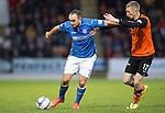 St Johnstone v Dundee United...27.12.14   SPFL<br /> Lee Croft fends off Chris Erskine<br /> Picture by Graeme Hart.<br /> Copyright Perthshire Picture Agency<br /> Tel: 01738 623350  Mobile: 07990 594431