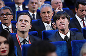 1st December 2017, State Kremlin Palace, Moscow, Russia;  Germany's national football team head coach Joachim Loew (R) sits in the hall with Germany's national football team manager Oliver Bierhoff (L) before the FIFA 2018 World Cup draw at the State Kremlin Palace in Moscow, Russia
