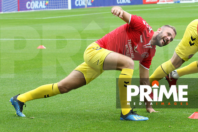 Fleetwood Town's Tommy Spurr warms up during the Sky Bet League 1 match between Sunderland and Fleetwood Town at the Stadium Of Light, Sunderland, England on 8 September 2018. Photo by Stephen Hadlow/MI News & Sport/PRiME Media Images.