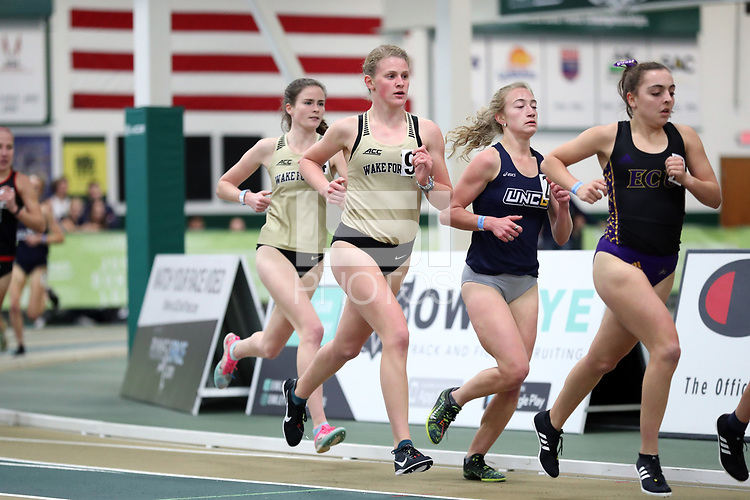 WINSTON-SALEM, NC - FEBRUARY 07: Spencer Faircloth #9 of Wake Forest University competes in the Women's 3000 Meters at JDL Fast Track on February 07, 2020 in Winston-Salem, North Carolina.