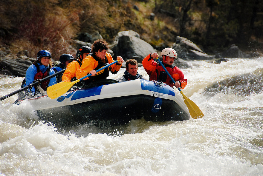 Whitewater rafters brave the Kitchen Sink Rapid on the Madison River in the Lee Metcalf Wilderness.