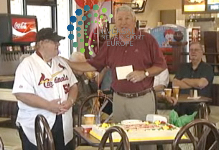Leonard Rhomberg,  a 68-year-old man who still works at the first McDonald's restaurant in Missouri, is honored for 50 years of service. Rhomberg began his job at a McDonald's restaurant in the St. Louis suburb of Crestwood in 1959, the year after it opened. And he still works there five days a week. The restaurant's owners, Patrick and Tom Hillmeyer, thanked Rhomberg with a cake, gifts and a St. Louis Cardinals jersey..15 September 2009: Universal News and Sport (Scotland).All pictures must be credited to  www.universalnewsandsport.com.(0ffice) 0844 884 51 22.
