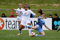 Piscataway, NJ - Sunday April 30, 2017: Desiree Scott and Kelley O'Hara during a regular season National Women's Soccer League (NWSL) match between Sky Blue FC and FC Kansas City at Yurcak Field.