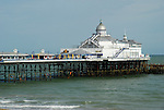 Telephoto shot of Eastbourne Pier and sea, East Sussex, England