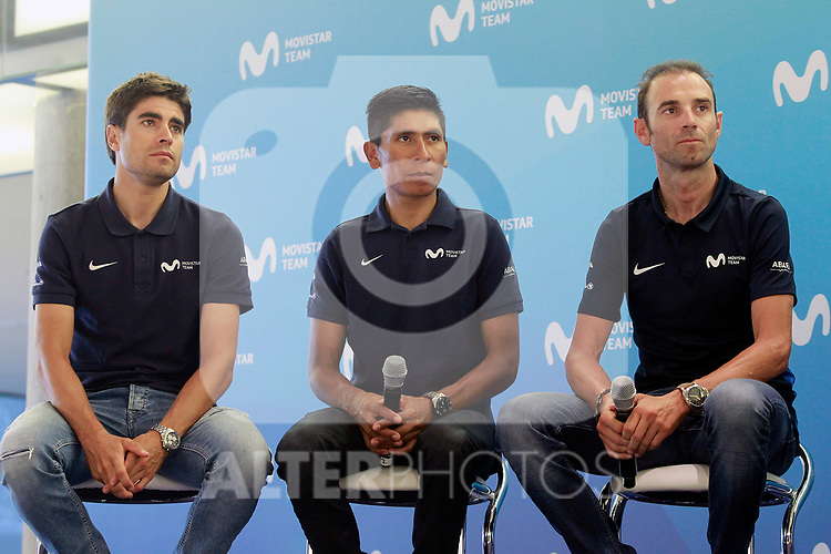 The leaders of Movistar Team, Mikel Landa, Nairo Quintana and Alejandro Valverde during the press conference before to the start of the Tour de France. June 18, 2018. (ALTERPHOTOS/Acero)