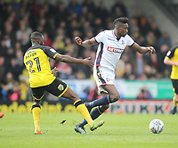 Bolton Wanderers Sammy Ameobi battles with  Burton Albion's Hope Akpan<br /> <br /> Photographer Mick Walker/CameraSport<br /> <br /> The EFL Sky Bet Championship - Burton Albion v Bolton Wanderers - Saturday 28th April 2018 - Pirelli Stadium - Burton upon Trent<br /> <br /> World Copyright &copy; 2018 CameraSport. All rights reserved. 43 Linden Ave. Countesthorpe. Leicester. England. LE8 5PG - Tel: +44 (0) 116 277 4147 - admin@camerasport.com - www.camerasport.com