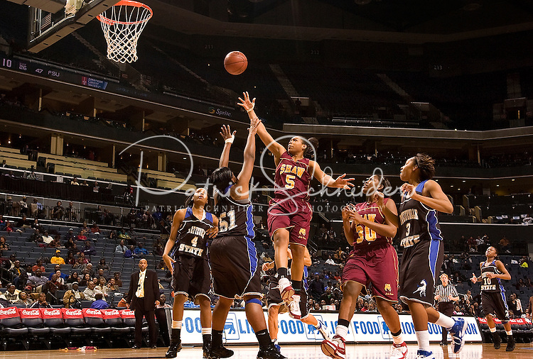 A female basketball shoots during the CIAA Tournament  in Charlotte, NC.