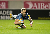 29th September 2017, AJ Bell Stadium, Salford, England; Aviva Premiership Rugby, Sale Sharks versus Gloucester; Sale Sharks' Byron McGuigan scores his third try