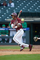 J.C. Flowers (8) of the Florida State Seminoles follows through on his swing against the Notre Dame Fighting Irish in Game Four of the 2017 ACC Baseball Championship at Louisville Slugger Field on May 24, 2017 in Louisville, Kentucky. The Seminoles walked-off the Fighting Irish 5-3 in 12 innings. (Brian Westerholt/Four Seam Images)