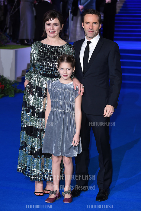 LONDON, UK. December 12, 2018: Emily Mortimer, Alessandro Nivola &amp; daughter May at the UK premiere of &quot;Mary Poppins Returns&quot; at the Royal Albert Hall, London.<br /> Picture: Steve Vas/Featureflash