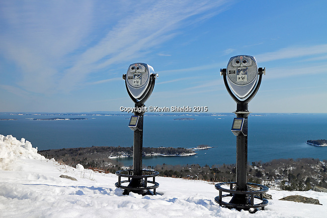 Coin operated binoculars on top of Mt. Battie, Camden Hills State Park, Maine, USA.