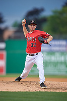 Batavia Muckdogs relief pitcher Brock Love (32) during a NY-Penn League game against the Lowell Spinners on July 11, 2019 at Dwyer Stadium in Batavia, New York.  Batavia defeated Lowell 5-2.  (Mike Janes/Four Seam Images)