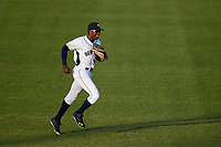 Binghamton Rumble Ponies center fielder Champ Stuart (2) jogs back to the dugout during a game against the Altoona Curve on May 17, 2017 at NYSEG Stadium in Binghamton, New York.  Altoona defeated Binghamton 8-6.  (Mike Janes/Four Seam Images)