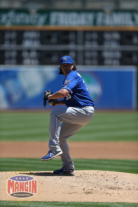 OAKLAND, CA - MAY 19:  Luis Mendoza #39 of the Kansas City Royals pitches during the game against the Oakland Athletics at O.co Coliseum on Sunday May 19, 2013 in Oakland, California. Photo by Brad Mangin