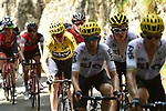 The peloton including Yellow Jersey Chris Froome (GBR) Team Sky in action during Stage 8 of the 104th edition of the Tour de France 2017, running 187.5km from Dole to Station des Rousses, France. 8th July 2017.<br /> Picture: ASO/Pauline Ballet | Cyclefile<br /> <br /> <br /> All photos usage must carry mandatory copyright credit (&copy; Cyclefile | ASO/Pauline Ballet)