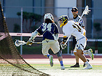 Tustin, CA 04/23/16 - George Dalis (Foothill #11) and Jack Keen {La Costa Canyon #34)lu in action during the non-conference CIF varsity lacrosse game between La Costa Canyon and Foothill at Tustin Union High School.  Foothill defeated La Costa Canyon 10-9 in sudden death overtime.