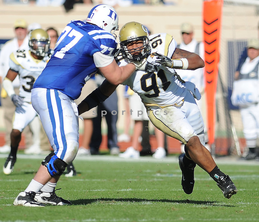 DERRICK MORGAN, of the Georgia Tech Yellow Jackets, in action during the Yellow Jackets game against the Duke Blue Devils on November 14, 2009 in Durham, NC. Georgia Tech won 49-10