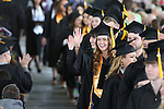 Graduates wave to their families following the 45th annual Western Nevada College Commencement ceremony in Carson City, Nev., on Monday, May 23, 2016. A record 556 graduates received 598 degrees.<br />