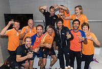 The Hague, The Netherlands, September 17, 2017,  Sportcampus , Davis Cup Netherlands - Chech Republic, Fifth match : Dutch team celebrating <br /> Photo: Tennisimages/Henk Koster