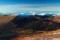 The Crianlarich Mountains and Glen Buckie from Beinn an t-Sidhein, Strathyre, Loch Lomond and the Trossachs National Park, Stirlingshire
