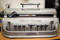 An old Perkins Brailler machine sits on a desk at Perkins School for the Blind in Watertown, Massachusetts, USA, on Tues., Oct. 15, 2013. Newer devices use the same style of input but can handle web browsing and email in addition to word processing.