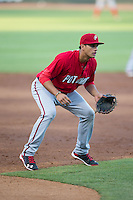 Potomac Nationals third baseman Drew Ward (17) on defense against the Winston-Salem Dash at BB&T Ballpark on May 13, 2016 in Winston-Salem, North Carolina.  The Dash defeated the Nationals 5-4 in 11 innings.  (Brian Westerholt/Four Seam Images)