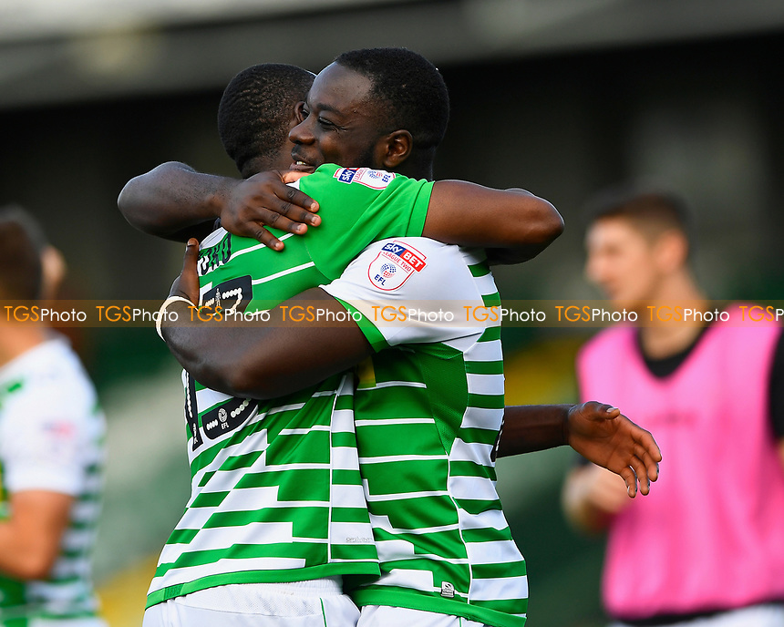 Francois Zoko of Yeovil Town and Olufela Olomola of Yeovil Town hug at the final whistle during Yeovil Town vs Accrington Stanley, Sky Bet EFL League 2 Football at Huish Park on 12th August 2017