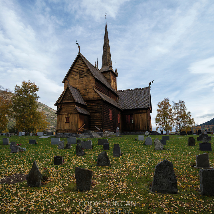 Lom stave church in autumn, Lom, Oppland, Norway