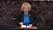 In this image from United States Senate television, US Representative Zoe Lofgren (Democrat of California), a manager on the part of the US House, makes opening remarks in favor of an amendment to US Senate Resolution 483, during the impeachment trial of US President Donald J. Trump in the US Senate in the US Capitol in Washington, DC on Tuesday, January 21, 2020.<br /> Mandatory Credit: US Senate Television via CNP