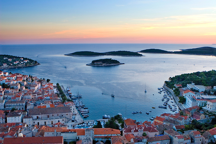 Sunset over old Hvar Town, Hvar Island, Croatia