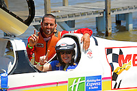 Shaun Torrente and a happy rider after a spin in the two-seater.