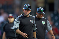 Augusta GreenJackets manager Carlos Valderrama (21) has some final words as he walks off the field after having been ejected from the game against the Kannapolis Intimidators at SRG Park on July 6, 2019 in North Augusta, South Carolina. The Intimidators defeated the GreenJackets 9-5. (Brian Westerholt/Four Seam Images)