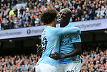 Manchester City's Leroy Sane celebrates scoring his sides fourth goal with Benjamin Mendy during the premier league match at the Etihad Stadium, Manchester. Picture date 9th September 2017. Picture credit should read: David Klein/Sportimage