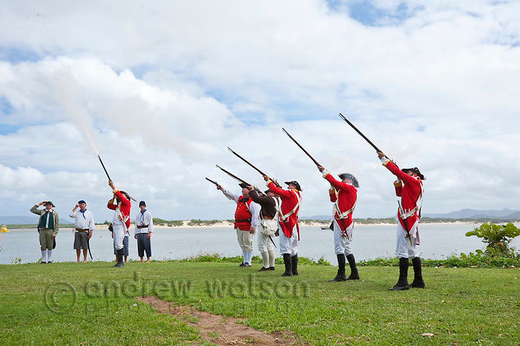 Re-enactment of Captain Cook's landing at Cooktown - part of the annual Discovery Festival (held in June).  Cooktown, Queensland, Australia