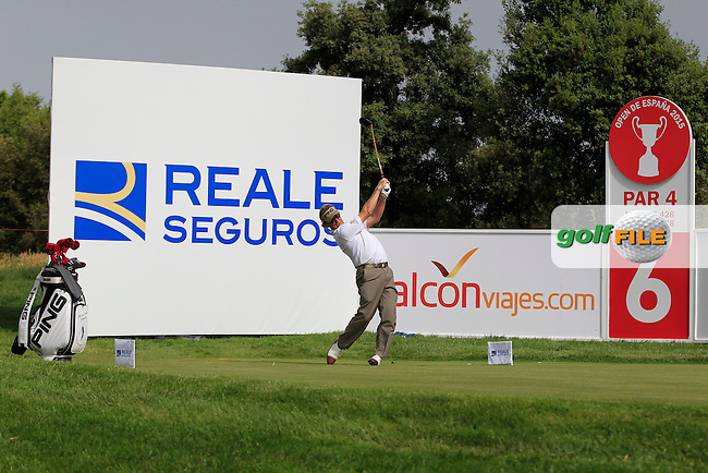Miguel Angel Jimenez (ESP) on the 6th tee during the Pro-Am of the Open de Espana  in Club de Golf el Prat, Barcelona on Wednesday 13th May 2015.<br /> Picture:  Thos Caffrey / www.golffile.ie