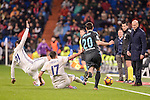 Real Madrid's Alvaro Morata and Lucas Vazquez and Real Sociedad's Joseba Zaldua during La Liga match between Real Madrid and Real Sociedad at Santiago Bernabeu Stadium in Madrid, Spain. January 29, 2017. (ALTERPHOTOS/BorjaB.Hojas)