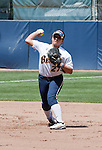 April 15, 2012:  California Bears shortstop Cheyenne Cordes throws to first against the Arizona Wildcats during their NCAA softball game played at Levine-Fricke Field on Sunday afternoon in Berkeley, California.  California won the game 6-0.