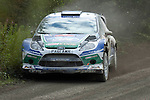 14th September 2012 - Devils Bridge - Mid Wales : WRC Wales Rally GB SS6 Myherin stage :  Jari-Matti Latvala  and co driver Mikka Anttila of Finland go a bit wide on the bend in their Ford Fiesta RS WRC.