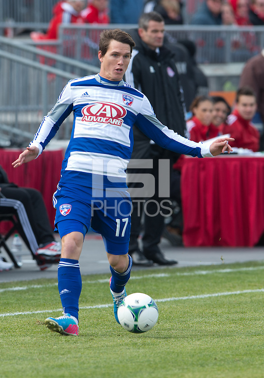 06 April 2013: FC Dallas defender Zach Loyd #17 in action during an MLS game between FC Dallas and Toronto FC at BMO Field in Toronto, Ontario Canada..The game ended in a 2-2 draw..