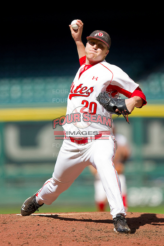 Relief pitcher Brock Duke #20 of the Utah Utes in action against the Kentucky Wildcats at Minute Maid Park on March 6, 2011 in Houston, Texas.  Photo by Brian Westerholt / Four Seam Images