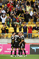 Shane Smeltz is congratulated for scoring his second goal to give Phoenix a 3-0 win during the A-League match between Wellington Phoenix and Newcastle Jets at Westpac Stadium, Wellington, New Zealand on Sunday, 4 January 2009. Photo: Dave Lintott / lintottphoto.co.nz
