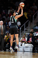 Washington, DC - August 25, 2019: New York Liberty guard Kia Nurse (5) hits a three point basket during second half action of game between the New York Liberty and the Washington Mystics at the Entertainment and Sports Arena in Washington, DC. The Mystics defeated New York 101-72. (Photo by Phil Peters/Media Images International)