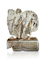 Roman Sebasteion relief  sculpture of Dionysus Drunk Aphrodisias Museum, Aphrodisias, Turkey.     Against a white background.<br /> <br /> A prancing woodland nymph leads drunken Dionysus who supports himself languidly on a small satyr. This is an image of Dionysian enjoyment and pleasure, hellenistic in style and fluently designed