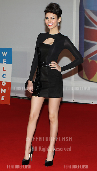 Victoria Justice arriving for the 2012 Brit Awards, O2 Arena, London. 21/02/2012 Picture by: Simon Burchell / Featureflash