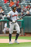 Wynton Bernard (6) of the Sacramento River Cats at bat against the Salt Lake Bees in Pacific Coast League action at Smith's Ballpark on April 11, 2017 in Salt Lake City, Utah.  The River Cats defeated the Bees 8-7. (Stephen Smith/Four Seam Images)