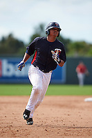 Minnesota Twins Luis Arraez (1) during an instructional league game against the Boston Red Sox on September 26, 2015 at CenturyLink Sports Complex in Fort Myers, Florida.  (Mike Janes/Four Seam Images)