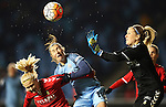 Katrine Abel and Mie Jans  of Brondby IF and Jane Ross of Manchester City Women during the Champions League last 16 tie, first leg between Manchester City Women and Brondby IF at the Academy Stadium. <br /> <br /> Photo credit should read: Lynne Cameron/Sportimage