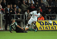 ATTENTION SPORTS PICTURE DESK<br /> Pictured: Nathan Dyer of Swansea (R) against Jordan Clarke of Coventry (L)<br /> Re: nPower Championship, Swansea City Football Club v Coventry City at the Liberty Stadium, Swansea, south Wales. Tuesday 14 September 2010